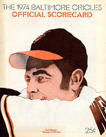 Baltimore Orioles 1974 Scorecard