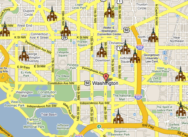 Map -- Daily Roman Catholic Mass In Downtown washington, DC
