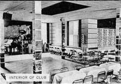 Inside The Hot Cha Club. The dining room between the old house and the off-track-betting area was once a swanky art deco club.